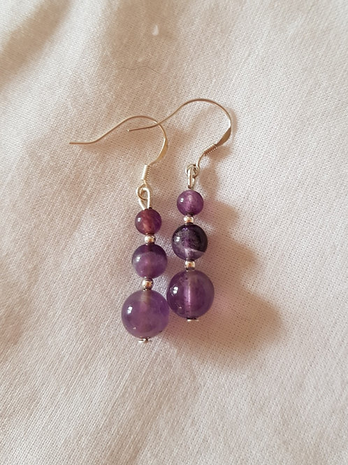 Amethyst Crystal Gemstone Earrings