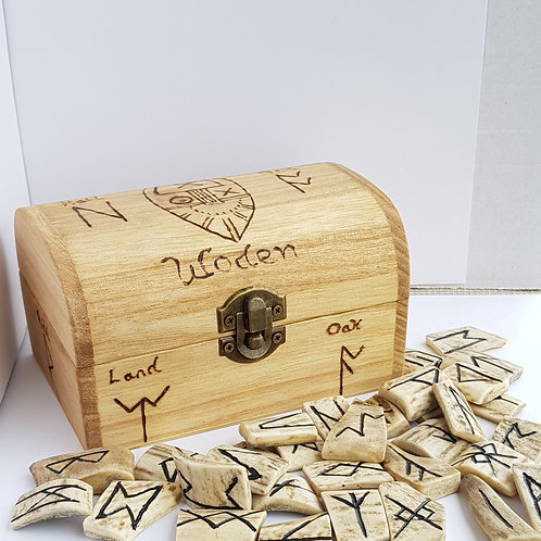 Deer Antler Anglo Saxon Runes in a box
