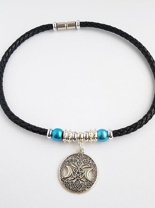 Leather Pagan Choker style Necklace Triple Moon