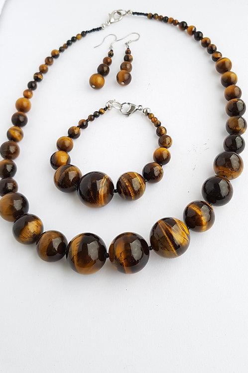 Tigers Eye Necklace, Bracelet & Earrings Set Handmade