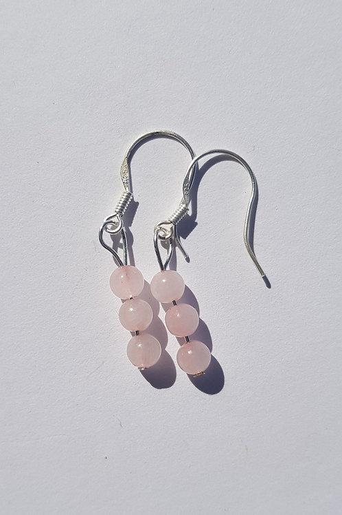 Small Drop Rose Quartz Earrings