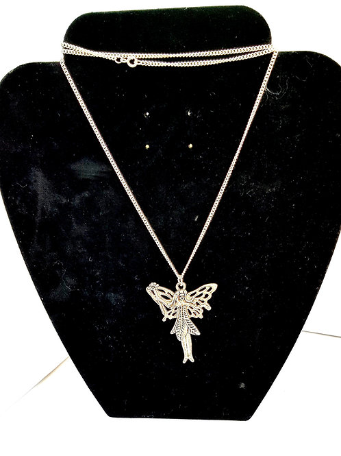 "Fairy Pendant Necklace with long 30"" chain"