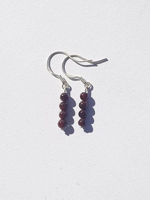 Small Drop Garnet Earrings
