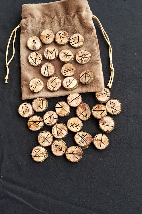 Anglo Saxon Runes in Ash Wood