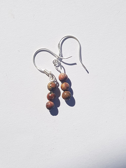 Small Drop Leopardskin Jasper Earrings