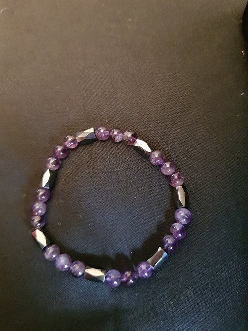 Magnetic Hematite & Amethyst Bracelet