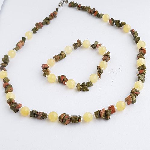 Calcite & Unakite Gemstone Necklace & Bracelet Set