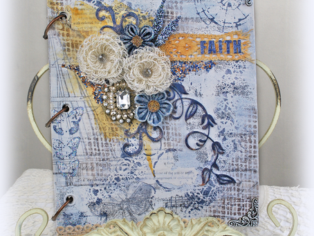CHA Faith Art Journal with Wispy Burlap Flower Tutorial