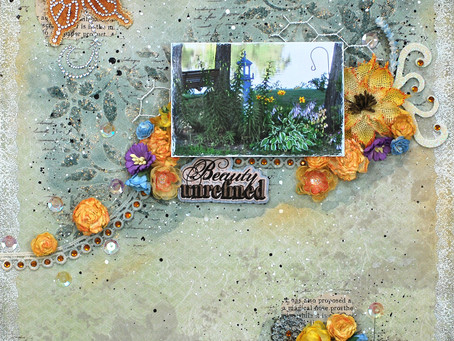 """Mom's Garden"" Mixed Media Layout"