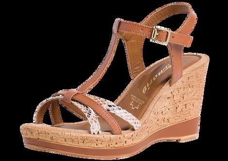 Tamaris - 28347 - Tan Leather Wedge With Snake Print Detail