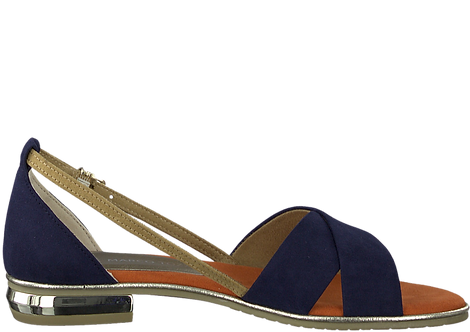Marco Tozzi - 28160 - Navy Block Heeled Sandal With Contrast Strap