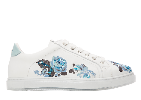 Moda in Pelle - Aflower - White Leather Trainer with Blue Sequin Flower Detail