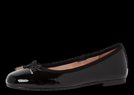 Tamaris - 22101 - Black Patent Ballerina Shoe