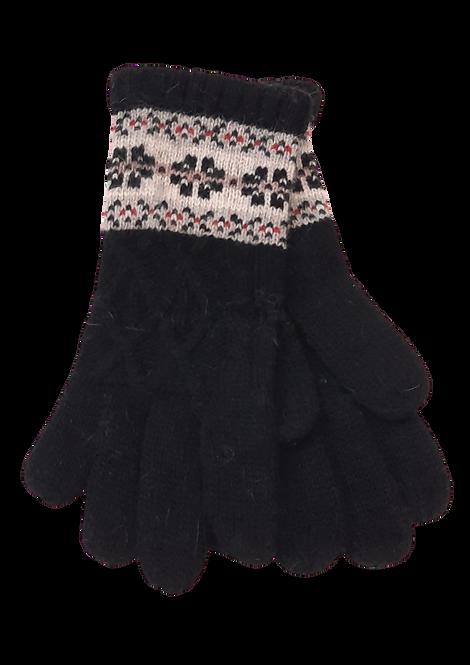 5022 - Black Wool Winter Pattern Gloves
