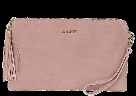 Kate Suede Tassel Clutch Bag in Blush