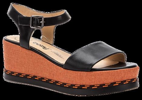 Betsy  - 907024 - Black and Orange Wedge with Orange Stitch Detail