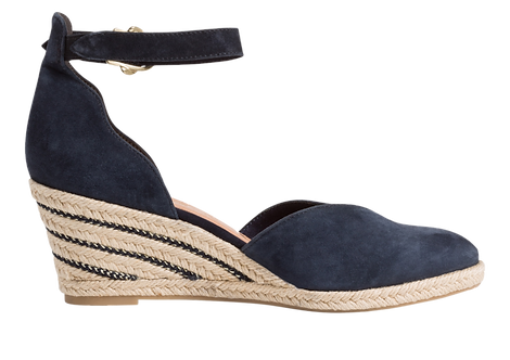 Tamaris - 24402 - Navy Leather Sandal with Espadrille Style Wedge