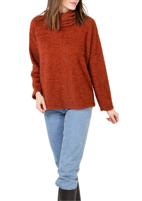 024 - Eyelash Knit, Roll Neck Jumper