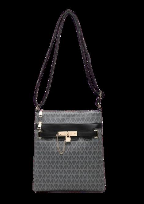 Z-9946 - Black / Patterned Crossbody Bag with Padlock