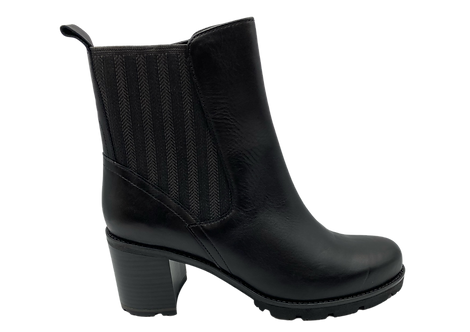 MarcoTozzi - 25434 - Black, Leather, Block Heeled Boot with Elasticated Panel