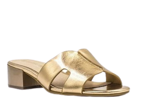 Betsy - 997010 - Gold, Heeled Mule Sandals