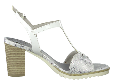 Marco Tozzi - 28732 - White, Heeled, T-Bar Sandal With Silver Reptile Print