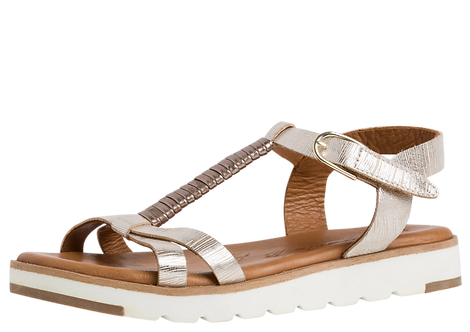 Tamaris - 28600 - Champagne Leather T-Bar Sandal