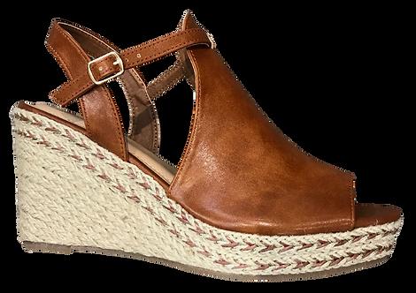 Betsy - 917714 - Brown Peep Toe Wedge