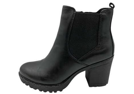Marco Tozzi - 26820 - Black, Block Heeled Boot with Elasticated Ankle Panel