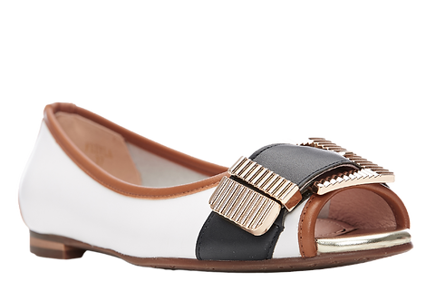 Moda in Pelle - Freyla - Peep Toe Buckle Shoe in Navy, Tan and White