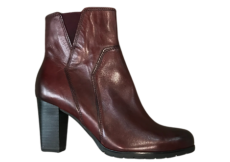 Marco Tozzi - 25372 -Red, Leather, Heeled Ankle Boot