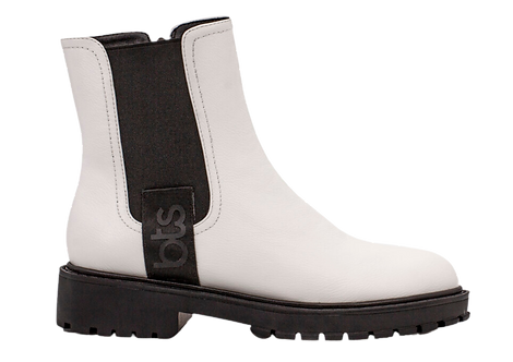 Betsy - 908060 White Ankle Boot with Contrast Sole and Ankle Panel