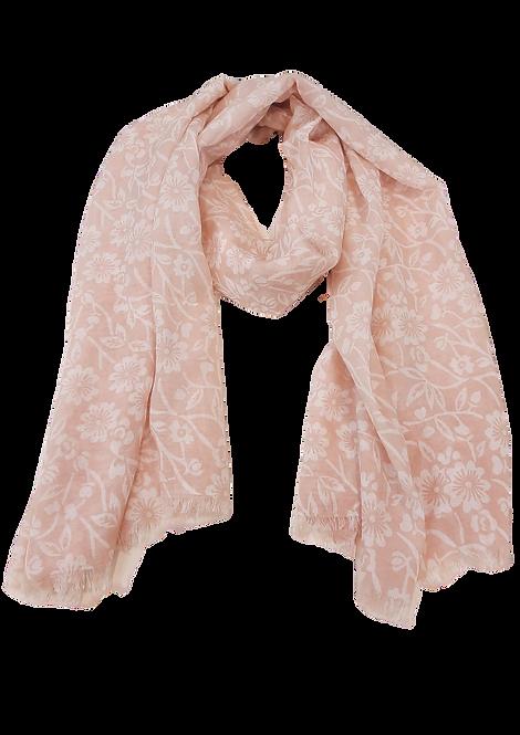 5016 - Peach / White Floral Scarf