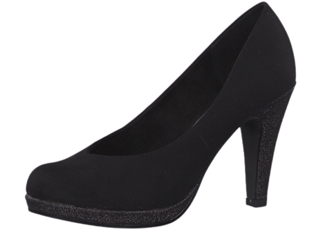 Marco Tozzi - 22441 - Court Shoe in Black with Glitter Heel and Platform