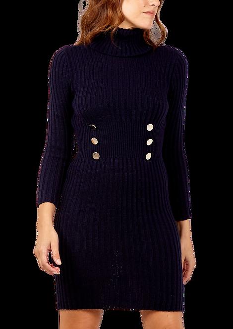 034 - Roll Neck, Button Detail, Long Sleeve Knit Dress