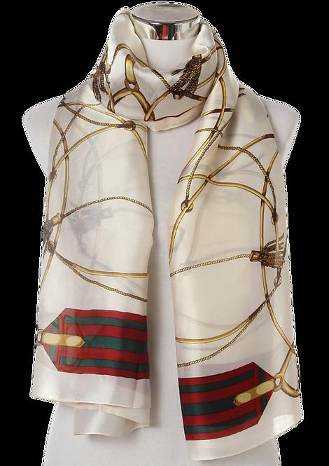 557 - Elegant Tassle and Buckle Print Silk Scarf