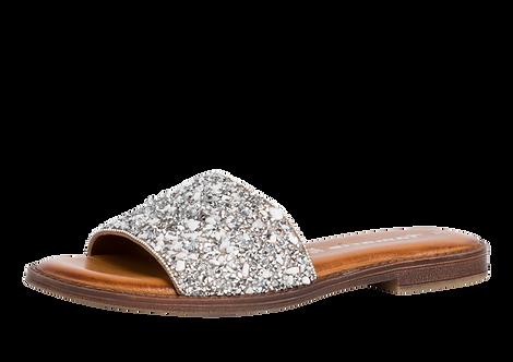 Tamaris - 27117 - Silver, Leather, Jewel Detail Mules