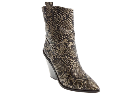 Betsy - 998082 - Bronze, Snakeprint, Calf Boot with Cut Out Heel