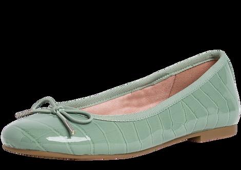 Tamaris - 22101 - Green Patent, Reptile Effect Ballerina Pump With Bow