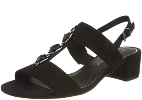 Marco Tozzi - 28200 - Block Heeled Black Sandals with Jewelled T-Bar