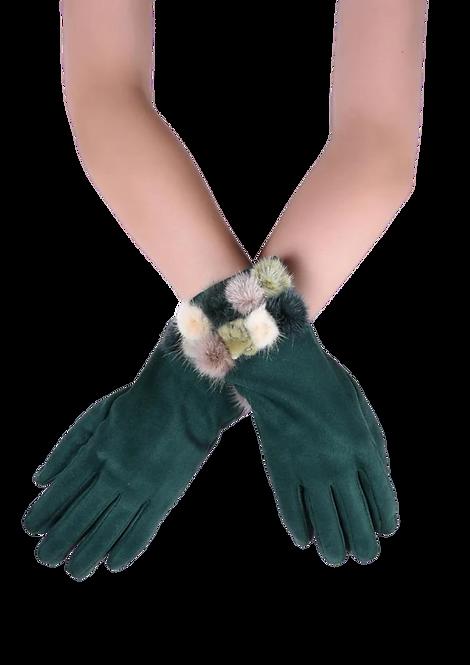 504 - Fur Pom Pom Gloves with Touchscreen Fingerprint