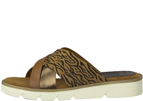 Marco Tozzi - 27104 - Bronze Crossover Mule with Animal Print