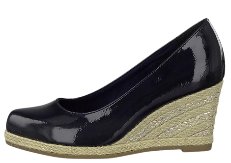 Marco Tozzi - 22440 - Navy Shoe with Espadrille Style Wedge