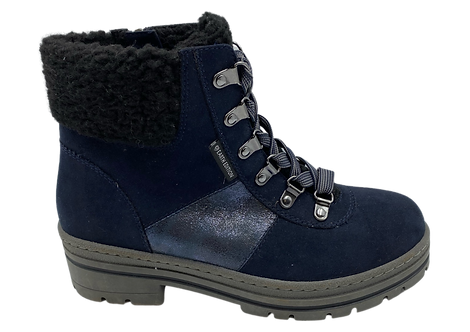 Marco Tozzi Earth Edition - 26775 - Navy 'Walking Boot' With Lined Cuff