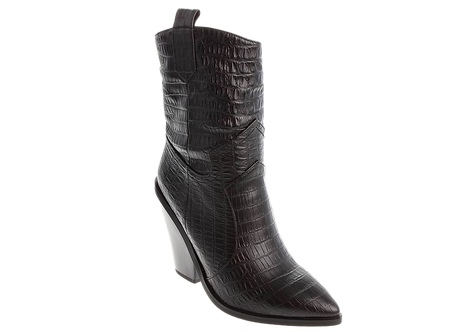 Betsy - 998082 - Black, Snakeprint, Calf Boot with Cut Out Heel
