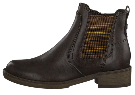 Tamaris - 25012 - Brown Ankle Boot With Mustard Stripe Ankle Panel