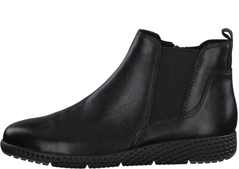 Marco Tozzi - 25415 - Black Leather Wedge Ankle Boot