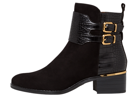 Tamaris - 25344 - Black Leather Ankle Boot with Buckle detail