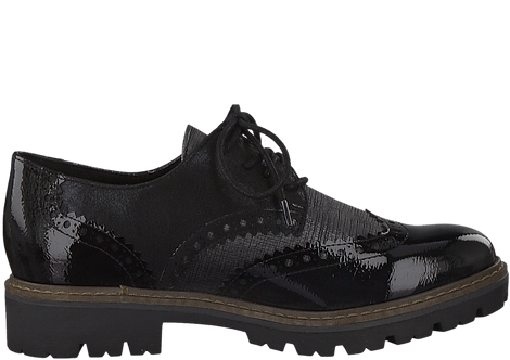 Marco Tozzi - 23718 - Black Brogue Shoe With Contrast Panels