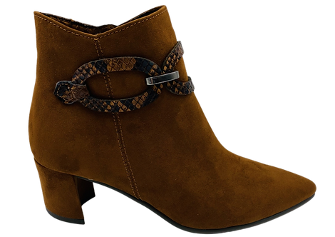 Marco Tozzi - 25375 - Brown, Black Keeled, Ankle Boot with Reptile Links